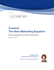 Altimeter Group Report The Content Marketing Equation