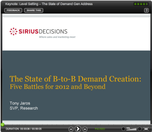 SiriusDecisions State of Demand Gen 2012