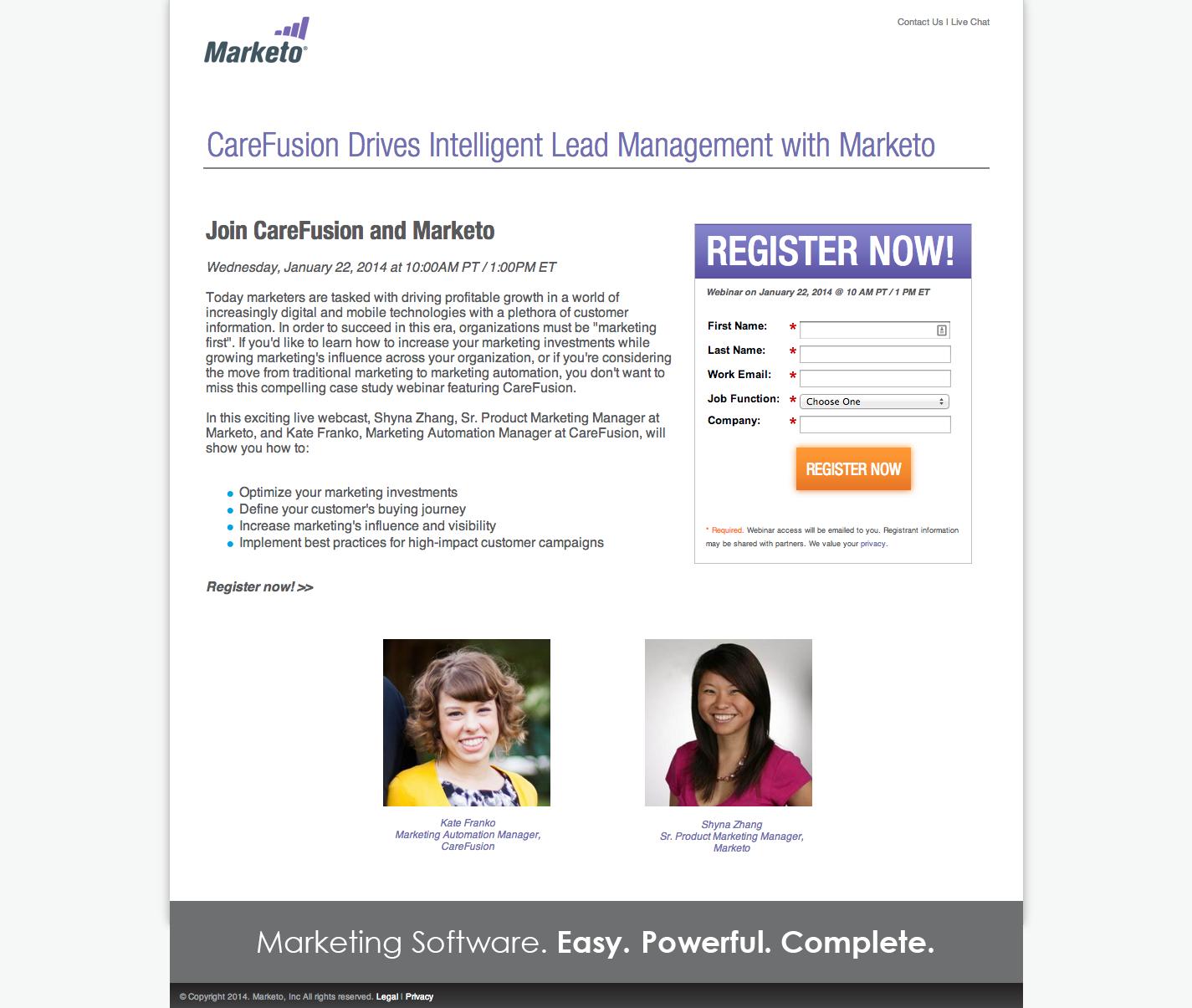 Best practices for webinar landing pages the effective marketer webinar registration from marketo stopboris Gallery